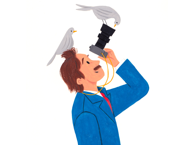 New View paint art gouache person man bird editorial painting illustration