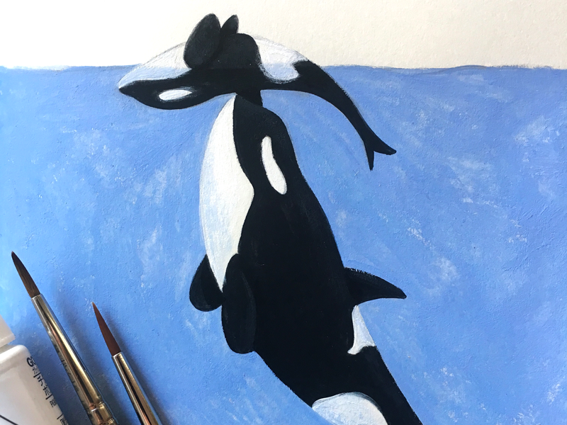 Orcas in Trouble Illustration orca whale artist art painting gouache pnw seattle ocean illustration conservation
