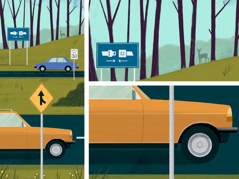 AAA Safe-Driving road plants animals digital painting landscape art car concept illustration editorial
