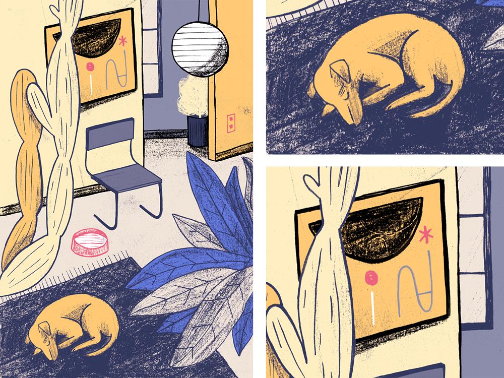 Interior #4 furniture midcenturymodern dog design animals plants interior painting art texture drawing illustration