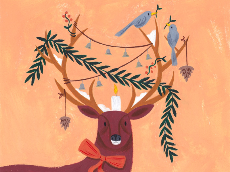 Oh deer! holiday christmas art drawing illustration icon paint gouache animal deer