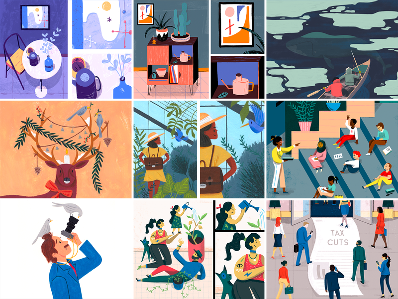 Top 9 - 2018 paint kidlit plants interior painting people art character texture editorial drawing illustration