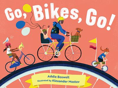Go, Bikes, Go! photoshop character design animals cute book childrens book picture book kidlit kid lit bike bikes art