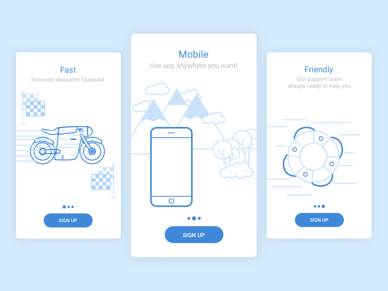 Onboarding Screens illustration outline icon fast friendly blue mobile graphic ios android intro welcome screen