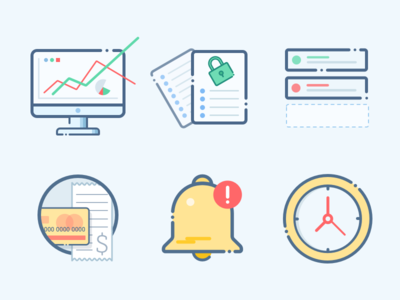 Analytics icons  graph events schedule check-out data imac bell clock security flat icon graphic