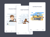 Welcome screens onboarding judge hummer mobile intro illustration icon graphic tractor buldozer legal person cards