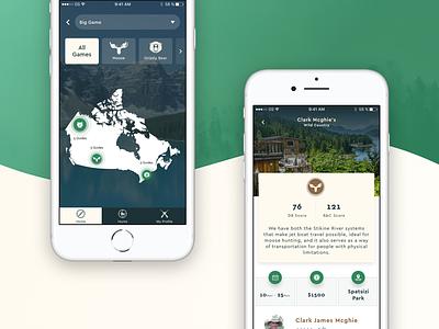 Hunts App 2018 iphone forest animals hunt green ux ui ios