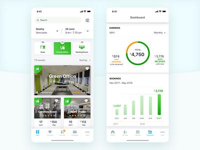 Deski App blue rental app rental vector clean app white clean design iphone ios ux app ui  ux ui