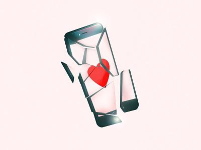 Cracked Phone texture minimal love illustration art