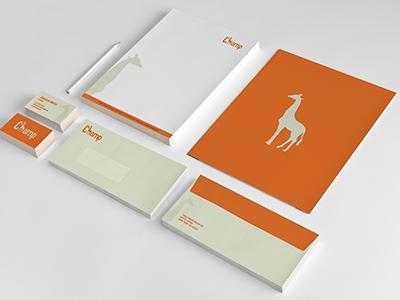 Chomp Identity print brand identity branding identity giraffe stationary orange chomp giraffes letterhead card envelope corporate identity logotype