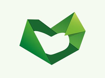 Logo for Skanderborg Rusmiddelcenter logo heart hearts rough soft triangles green sharp edges