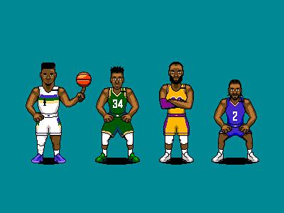 NBA Players / Bleacher Report basketball nba animation character illustration pixel art 8 bit 80s 90s 16 bit