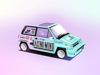 Honda City Turbo II: Mind Racing/Racing Mind racing vehicle car blender3d lowpoly 3d design 90s 80s pixel art