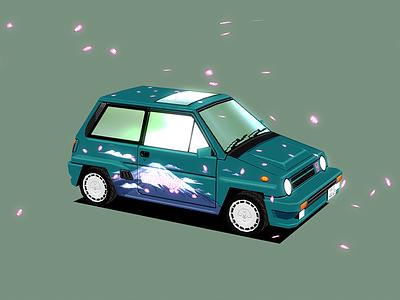 Honda City Turbo II: Cherry Blossom racing vehicle car blender3d lowpoly 3d 80s 90s pixel art