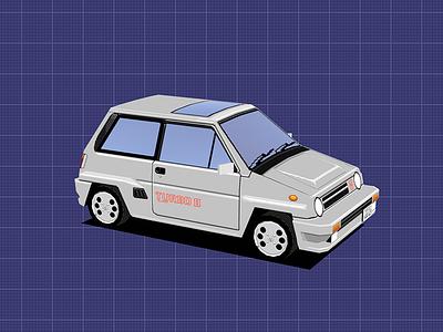 Honda City Turbo II: Factory racing vehicle car lowpoly blender3d 3d retro 80s 90s pixel art