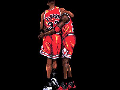 Michael Jordan I / with Scottie Pippen 1997 bulls chicago nba basketball retro character illustration 90s 16 bit pixel art