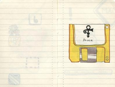 Pocket Moleskine A yellow prince floppy diskette sketch ink drawing moleskine sketchbook