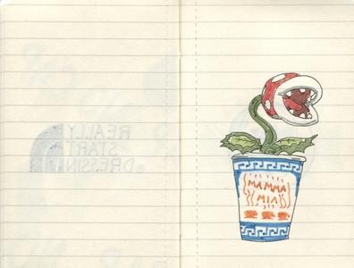 Pocket Moleskine D mamma mia new york coffee cup coffee piranha plant mario ink moleskine drawing sketch sketchbook