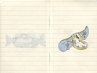 Pocket Moleskine E girl skateboards salvador dali dali skateboard ink drawing moleskine sketch sketchbook
