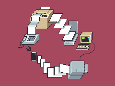 Document Flow icon retro illustration 8 bit 80s 90s 16 bit pixel art