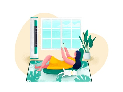 Summer Day plants sofa sleeping cat cat air-conditioning girl shot illustration