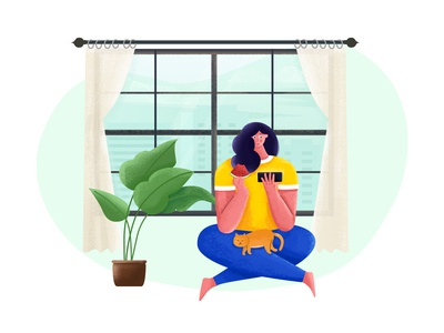 Otaku indoors plant eating watermelon window girl illustration