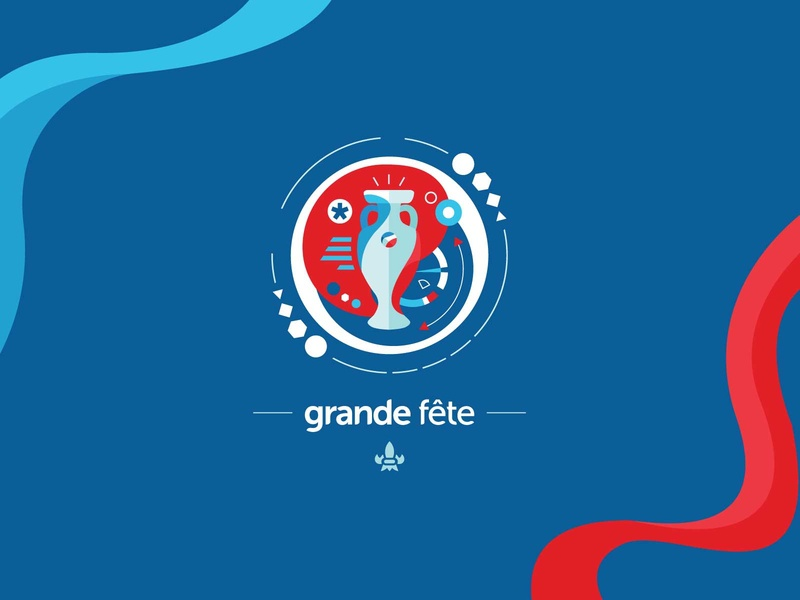 Grande fête infographic uefa fifa euro football branding logo design vector illustration artwork
