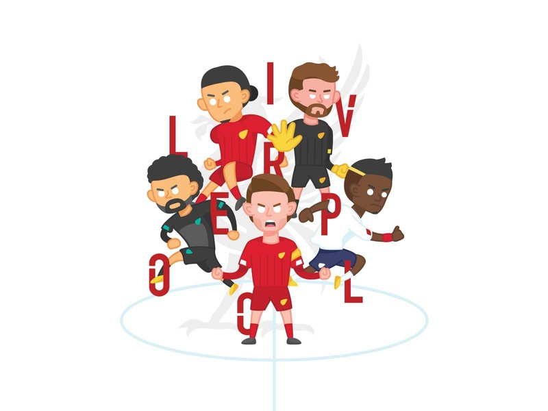 Liverpool season 19/20 premier league liverpool fifa football design vector character illustration artwork