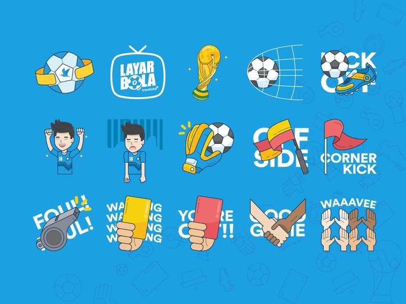 Layar Bola Traveloka GIF set sticker gif worldcup fifa football design vector character illustration artwork