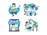 User Onboarding - Traveloka App user app onboarding ux ui character design vector illustration artwork