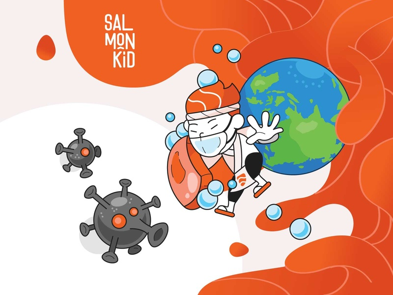 Salmonkid - Corona stayhome staysafe covid19 coronavirus social media character design vector illustration artwork
