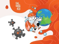 Salmonkid - Corona stayhome staysafe covid19 coronavirus social media character design vector illustration artwork