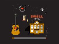John Prine // When I Get to Heaven watch moon heart hotel guitar line art vector illustration