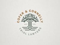 Cofer & Connelly Logo Design texas austin texas austin tree logo design branding law firm live oak tree logo