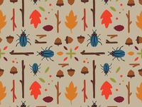Fall Pattern acorn sticks beetle leaf vector pattern fall