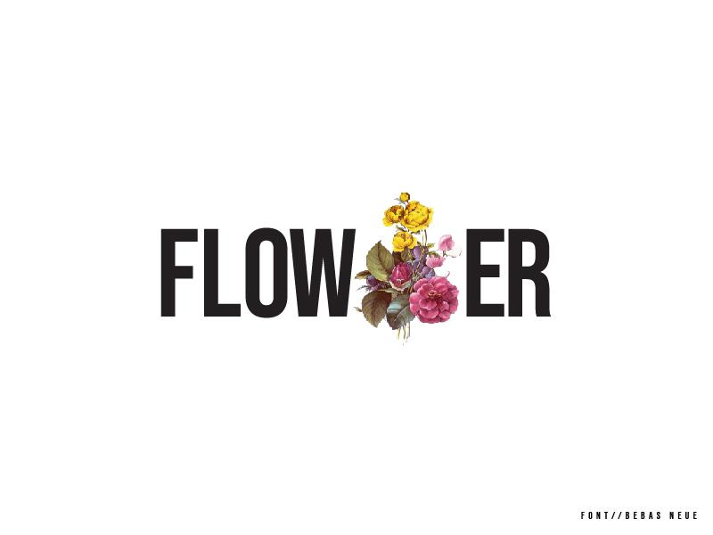 Flower design font illustration ui minimalist logo lettering typography