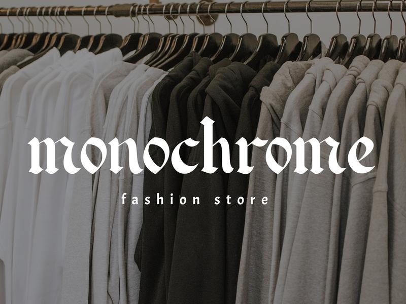 Monochrome // fashion store illustration graphic design hand lettering font logo branding lettering minimalist typography