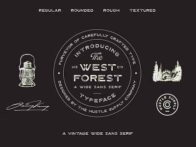 The West Forest wide sans serif vintage logo branding typeface font retro lettering logo typography vintage