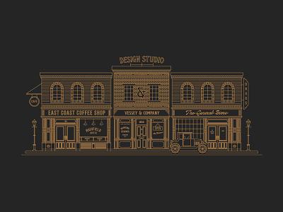 Storefront Illustration illustrations heritage building design studio vintage illustration town illustration small town line illustration illustration storefront