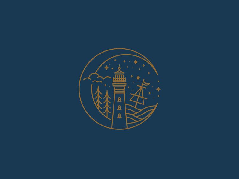 Maritime Badge | Lighthouse Logo tattoo design linework lighthouse icon design lighthouse illustration vintage logo nautical lineart east coast logo shipwreck lighthouse logo maritime