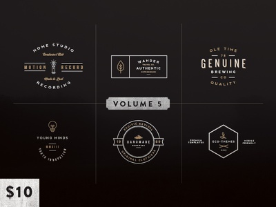 Vintage Logo Kit:  Volume Five vintage logo mark insignia wordmark texture crest emblem design typography branding icon set