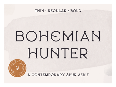 Bohemian Hunter - Available for Sale Today! serif font packaging texture boho branding typeface typography lettering vintage
