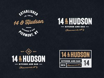 14 & Hudson Logo (WIP) restaurant vintage logo brand emblems labels branding icons retro badges nautical typography