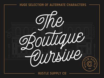 The Boutique Cursive wordmark typeface monoline logo monoline font monoline script hand lettering font retro lettering typography logo vintage