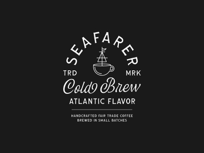 Seafarer Cold Brew coffee illustration ship illustration vintage badge lettering type design label design typographic logo typography logotype logo type branding coffee packaging coffee label coffee cold brew