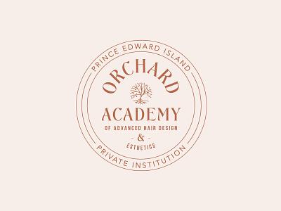 Orchard Academy Badge spa logo skincare hair stylist hair dresser esthetics logo aesthetics tree roots orchard logo tree logo seal branding college education logo badge