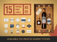 15 Vintage Print Labels - Creative Market