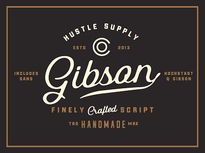 Gibson Script + Extras typography lettering retro gibson script branding logo rum whiskey vintage