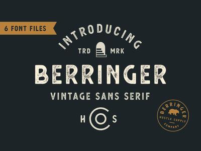 *NEW* Berringer - A Vintage Sans Serif vintage logo logo branding vintage sans serif sans serif retro vintage type font typeface