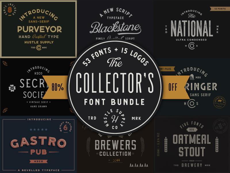 The Collector's Font Bundle label font wordmark script branding logo illustration vintage logo typeface retro typography vintage